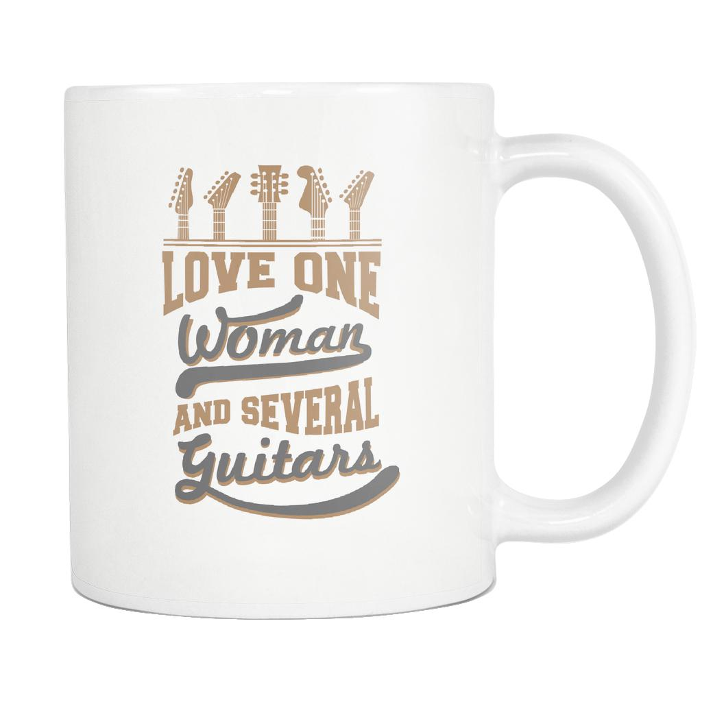Love One Woman And Several Guitars Cool Funny Awesome Unique Guitarist White 11oz Coffee Mug-NeatFind.net