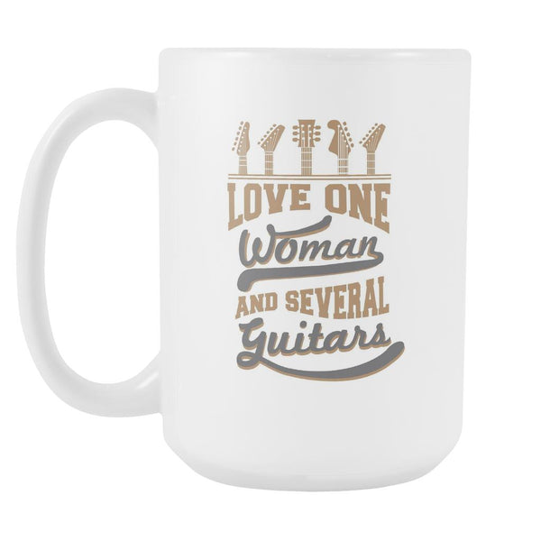 Love One Woman And Several Guitars Cool Funny Awesome Unique Guitarist White 15oz Coffee Mug-NeatFind.net