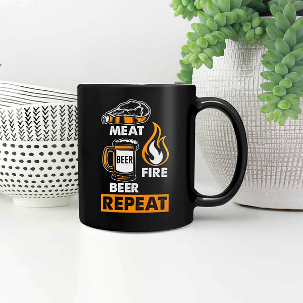 Meat Beer Fire Beer Repeat Awesome BBQ Cool Funny Gifts Black 11oz Coffee Mug-NeatFind.net