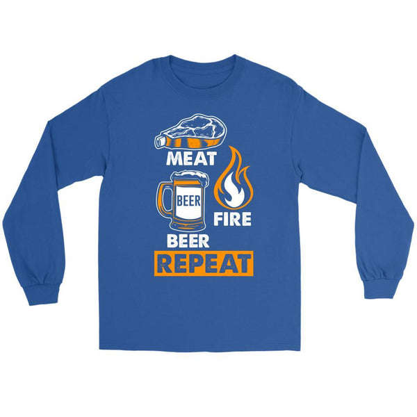 Meat Beer Fire Beer Repeat Awesome BBQ Cool Funny Gifts Gag Long Sleeve T-Shirt-NeatFind.net