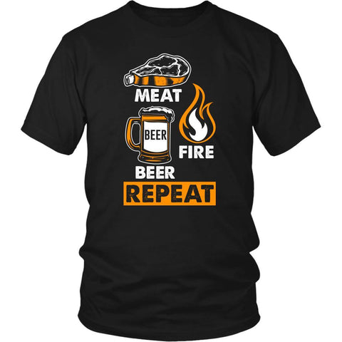 Meat Beer Fire Beer Repeat Awesome BBQ Cool Funny Gifts Gag Unisex T-Shirt-NeatFind.net