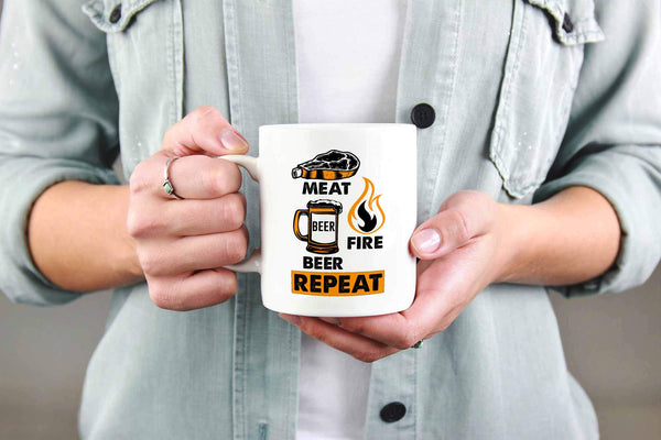 Meat Beer Fire Beer Repeat Awesome BBQ Cool Funny Gifts White 11oz Coffee Mug-NeatFind.net