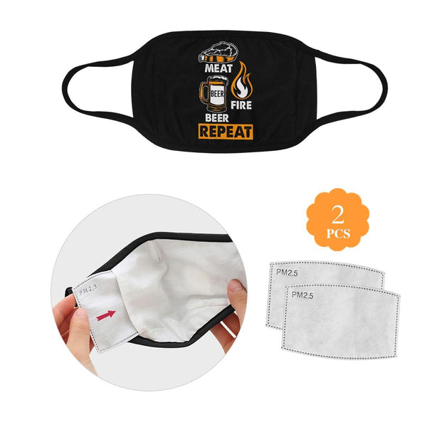 Meat Fire Beer Repeat Washable Reusable Cloth Face Mask With Filter Pocket-L-Black-NeatFind.net