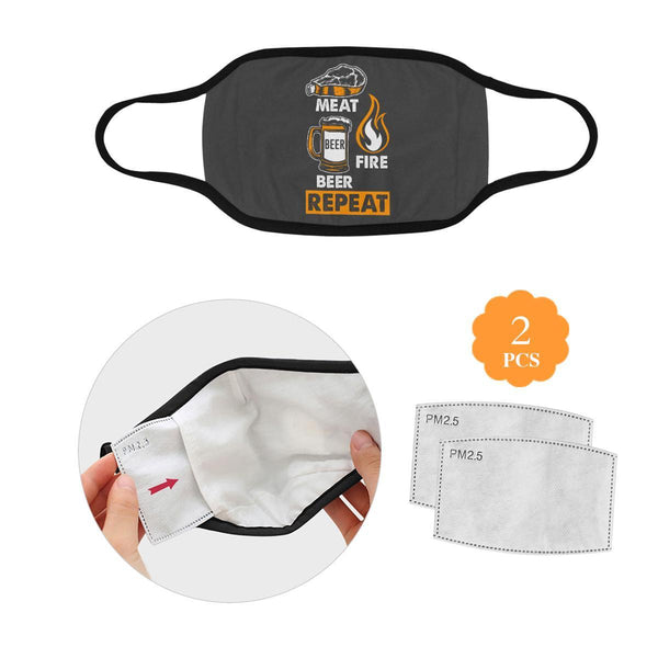Meat Fire Beer Repeat Washable Reusable Cloth Face Mask With Filter Pocket-L-Grey-NeatFind.net