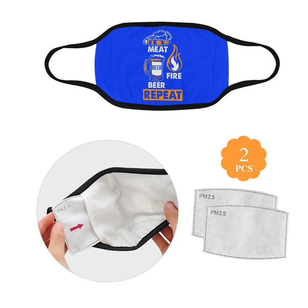 Meat Fire Beer Repeat Washable Reusable Cloth Face Mask With Filter Pocket-L-Royal Blue-NeatFind.net