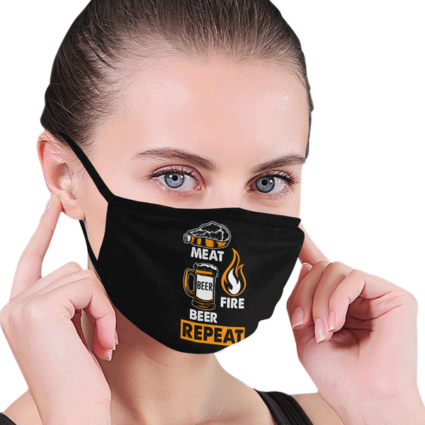 Meat Fire Beer Repeat Washable Reusable Cloth Face Mask With Filter Pocket-NeatFind.net