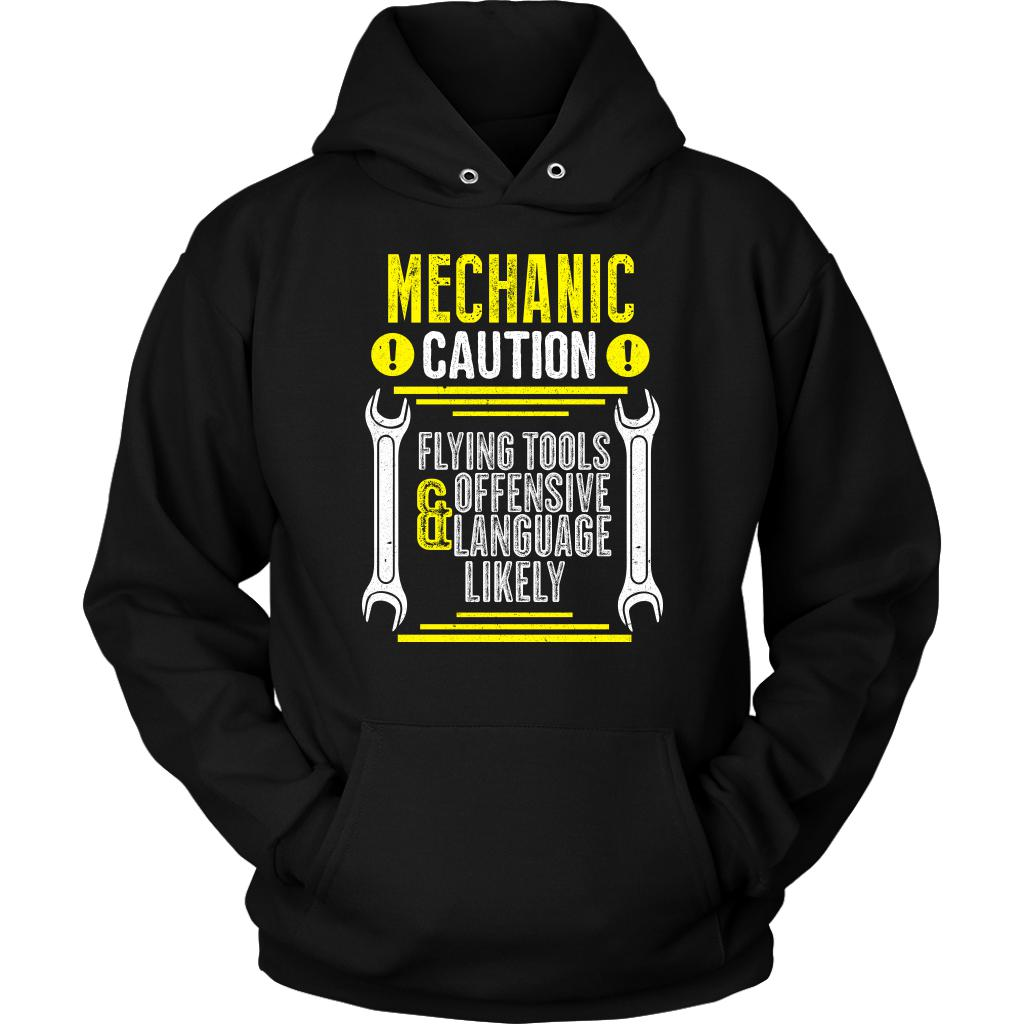 Mechanic Caution Flying Tools Offensive Language Likely Funny Auto Unisex Hoodie-NeatFind.net