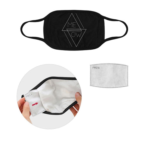 Meow Funny Cat Lovers Washable Reusable Cloth Face Mask With Filter Pocket-Face Mask-S-Black-NeatFind.net