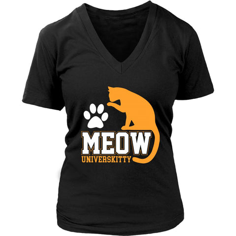 Meow Universkitty Cute Funny Cat Lovers Kitty Obsessed Friend V-Neck T-Shirt-NeatFind.net