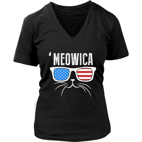 Meowica Awesome Cute Funny Cat Lovers Kitty Obsessed Friend V-Neck T-Shirt-NeatFind.net