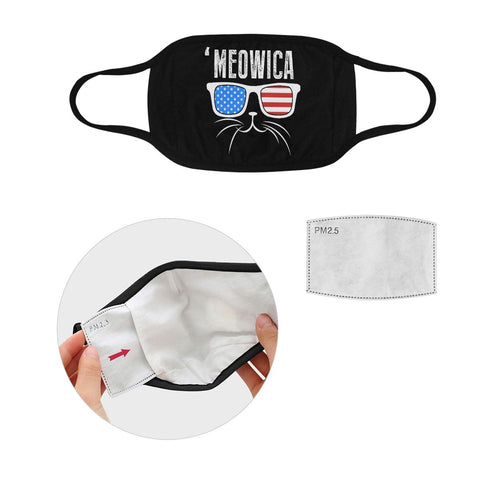 Meowica Patriotic Funny Washable Reusable Cloth Face Mask With Filter Pocket-Face Mask-S-Black-NeatFind.net