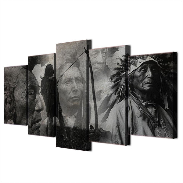 Monochrome Native American Indians 5 pcs Canvas Wall Art-NeatFind.net