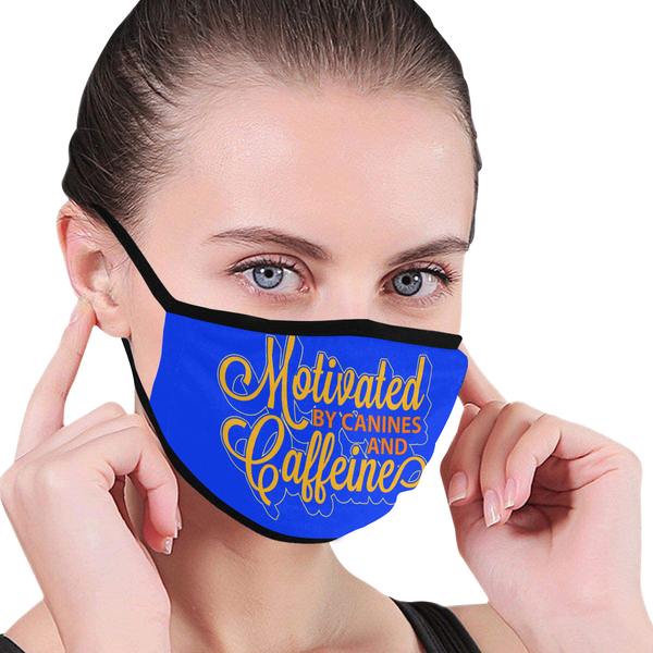 Motivated By Canines & Caffeine Washable Reusable Cloth Face Mask With Filter-Face Mask-NeatFind.net