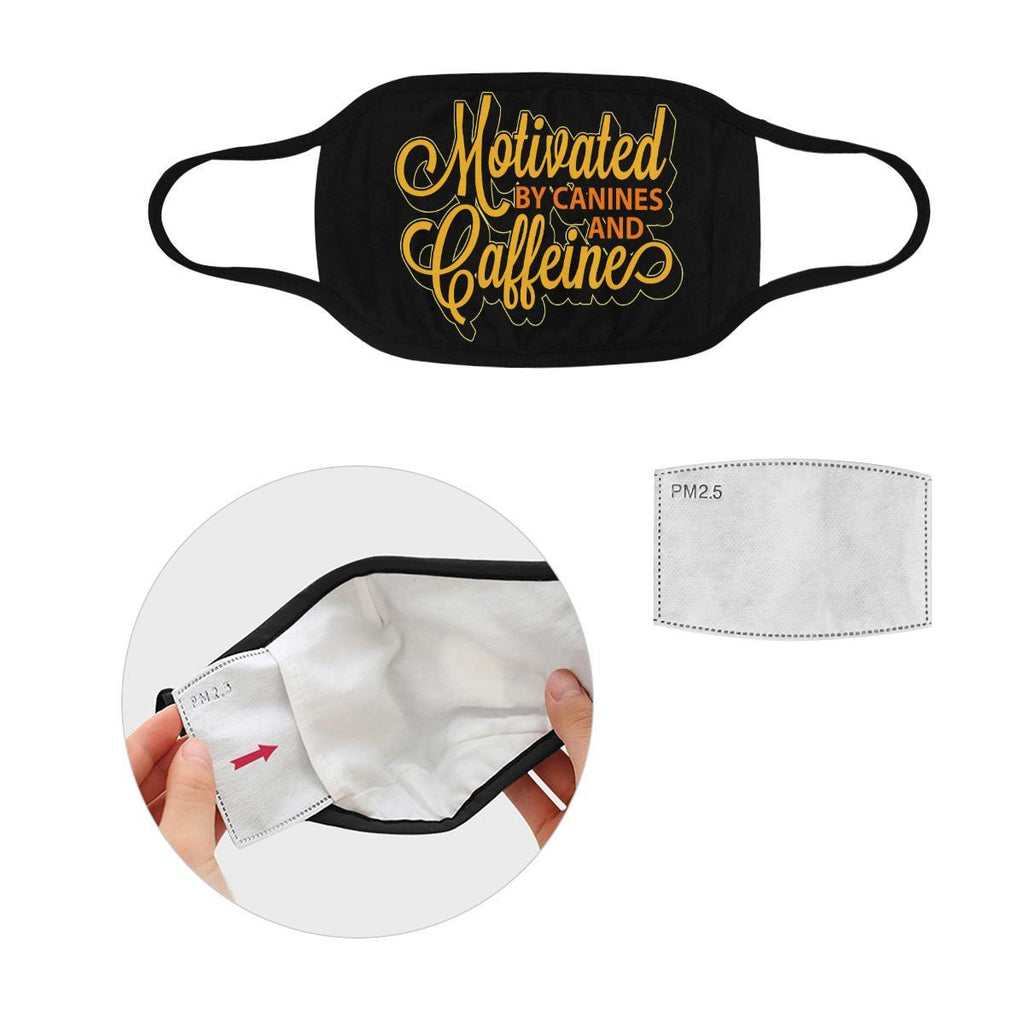 Motivated By Canines & Caffeine Washable Reusable Cloth Face Mask With Filter-Face Mask-S-Black-NeatFind.net