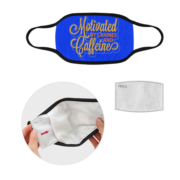 Motivated By Canines & Caffeine Washable Reusable Cloth Face Mask With Filter-Face Mask-S-Royal Blue-NeatFind.net