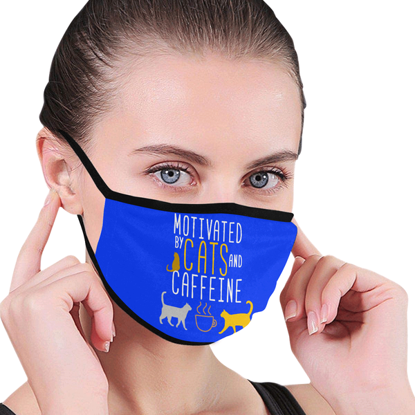 Motivated By Cats & Caffeine Washable Reusable Cloth Face Mask With Filter-Face Mask-NeatFind.net