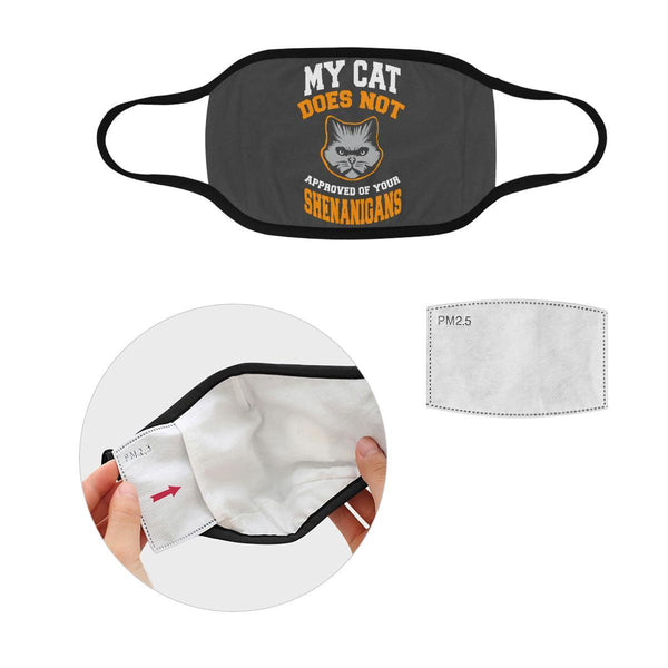 My Cat Does Not Approved Of Your Shenanigans Washable Reusable Cloth Face Mask-Face Mask-S-Grey-NeatFind.net