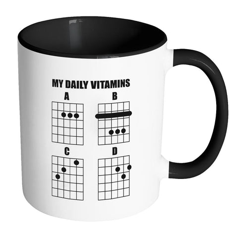 My Daily Vitamins A B C D Guitar String Notes Chords Best Cool Funny Gag Guitarist 11oz 7 Colors Coffee Mug-NeatFind.net