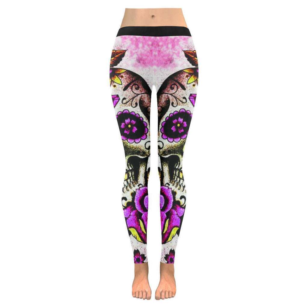 Mysterious Pink Sugar Skull Drawing Soft UPF40+ Non See Through Womens Leggings-NeatFind.net