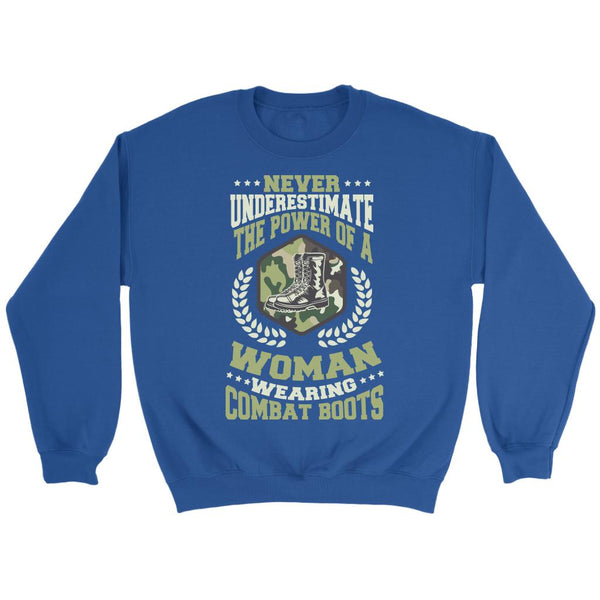 Never Underestimate The Power Of A Woman Wearing Combat Boots Patriotic USA Military Women Unisex Crewneck Sweatshirt For Women-NeatFind.net