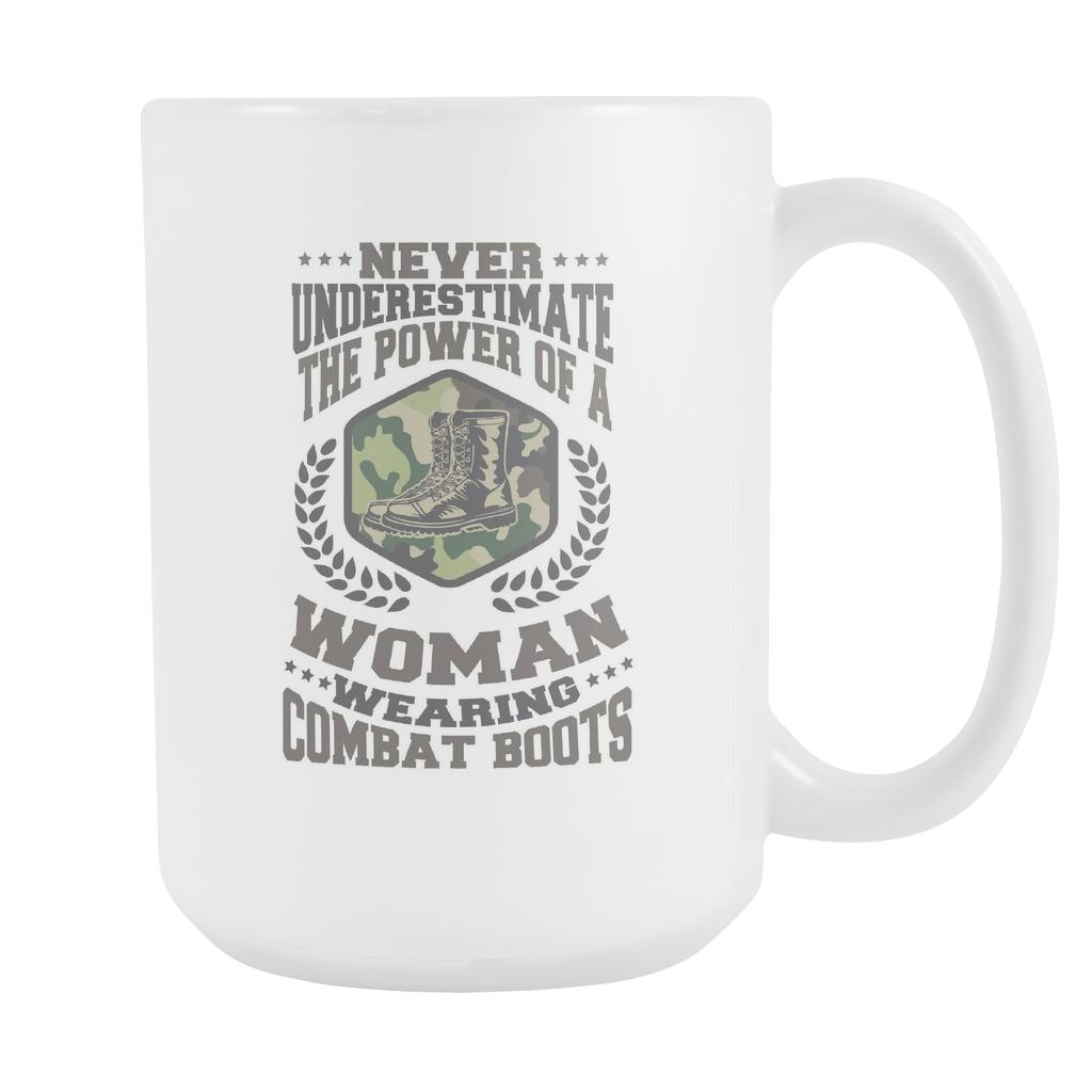 Never Underestimate The Power Of A Woman Wearing Combat Boots Patriotic USA Military Women White 15oz Coffee Mug-NeatFind.net