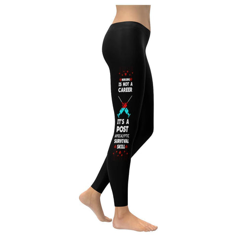 Nursing Is A Post Apocalyptic Survival Skill Nurse Soft UPF40+ Womens Leggings-NeatFind.net