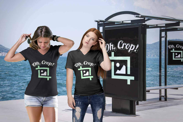 Oh Crop! Post Processing Cool Photography Funny Photographer Gifts VNeck TShirts-NeatFind.net