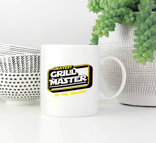 Okayest Grill Master In The Galaxy Awesome BBQ Cool Funny Gifts White Mug-NeatFind.net