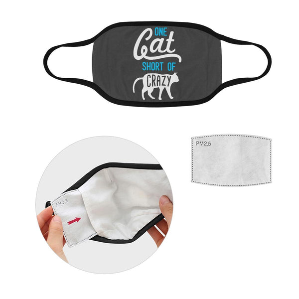 One Cat Short Of Crazy Washable Reusable Cloth Face Mask With Filter Pocket-Face Mask-S-Grey-NeatFind.net