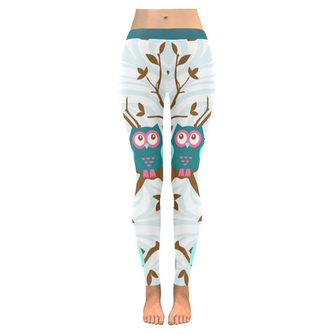 Owl Blue Print Low Rise Leggings For Women-NeatFind.net