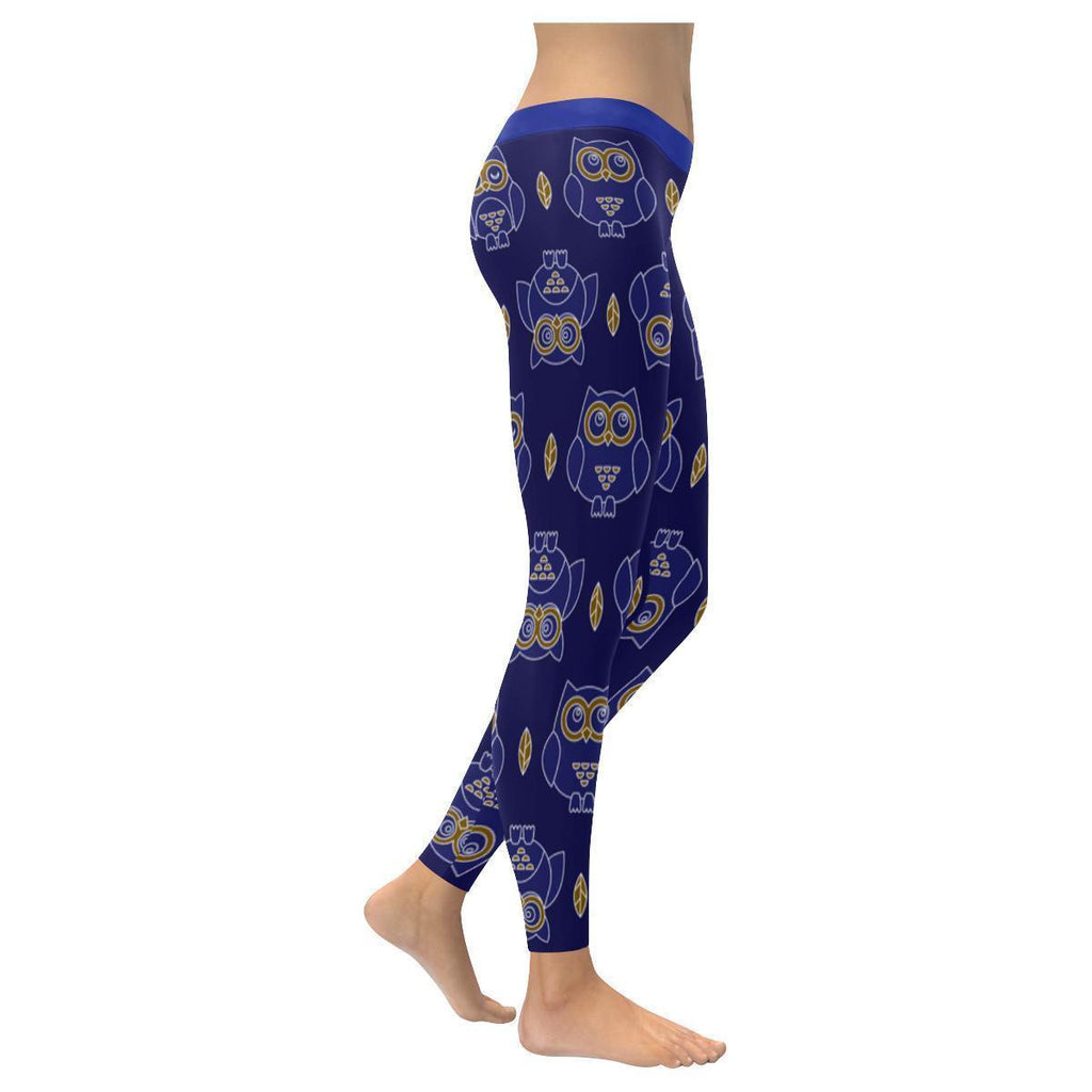 Owl Navy Print Low Rise Leggings For Women-NeatFind.net