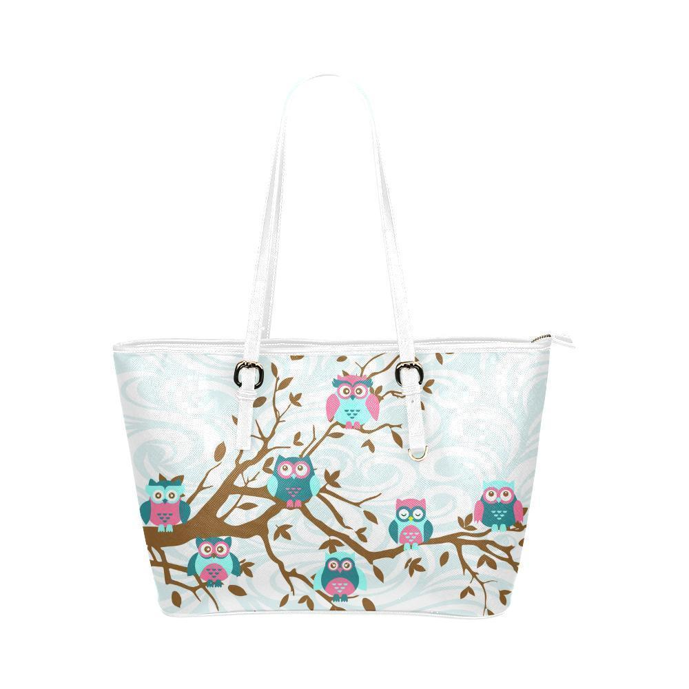 Owl Print #2 Water Resistant Leather Tote Bags (5 colors)-NeatFind.net