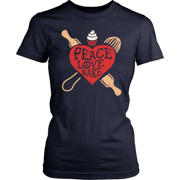 Peace Love Bake Funny Gift Idea For Bakers Baking Super Soft Comfy Women TShirt-NeatFind.net