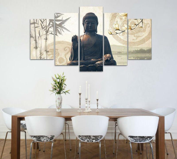 Peaceful Meditating Buddha 5 Piece Canvas Wall Art-NeatFind.net