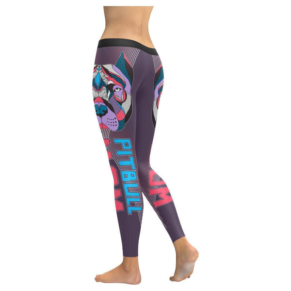 Pitbull Mom Cute Soft UPF40+ Moisture Wicking Non See Through Womens Leggings-NeatFind.net