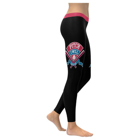Pitch I Will Slug You Funny Cute Softball Mom Gift Ideas UPF40+ Womens Leggings-NeatFind.net
