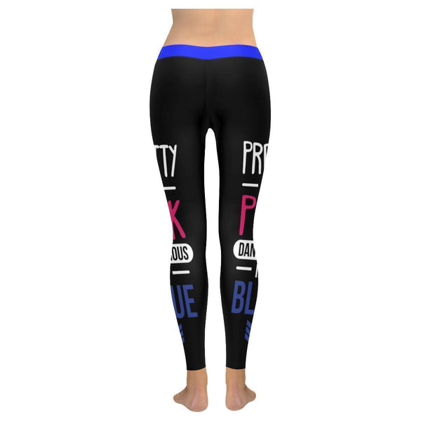 Pretty In Pink Dangerous In Blue Soft UPF40+ Non See Through Womens Leggings-NeatFind.net