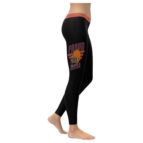 Proud Football Mama Unique Mom Gift Ideas Comfy & Soft UPF40+ Womens Leggings-NeatFind.net