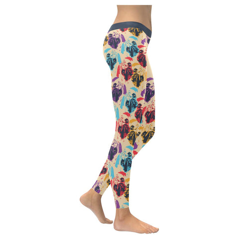 Pug Patterns Comfy UPF40+ Moisture Wicking Non See Through Womens Leggings-NeatFind.net