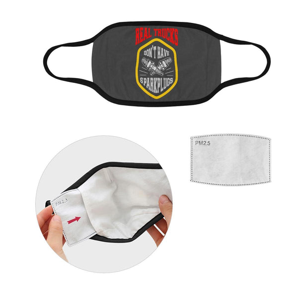 Real Trucks Dont Have Sparkplugs Washable Reusable Cloth Face Mask With Filter-Face Mask-L-Grey-NeatFind.net
