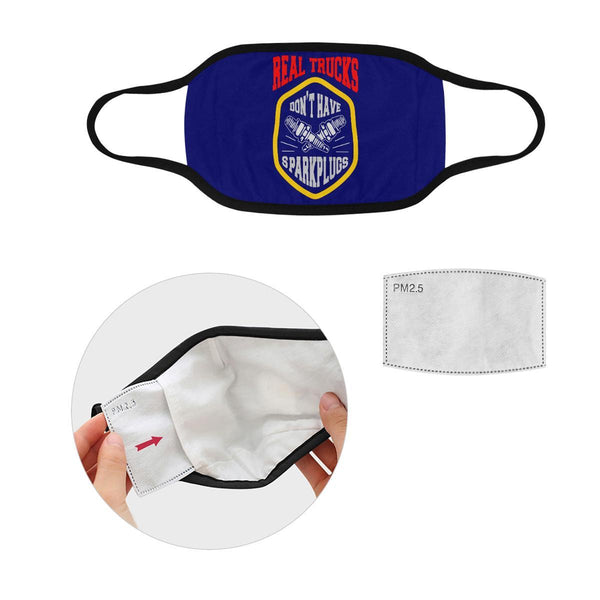 Real Trucks Dont Have Sparkplugs Washable Reusable Cloth Face Mask With Filter-Face Mask-L-Navy-NeatFind.net
