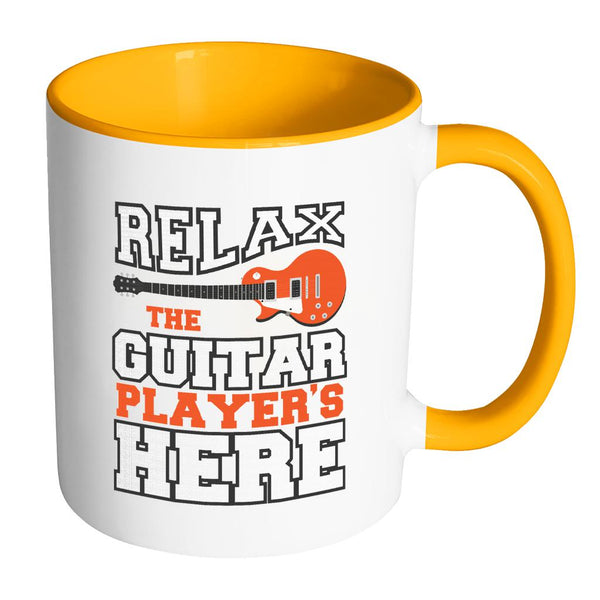Relax The Guitar Player's Here Cool Funny Awesome Unique Guitarist 11oz Accent Coffee Mug-NeatFind.net