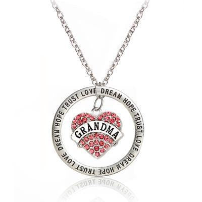 Retro Silver Rhinestone Crystal Grandma Heart Pendant & Necklace-NeatFind.net