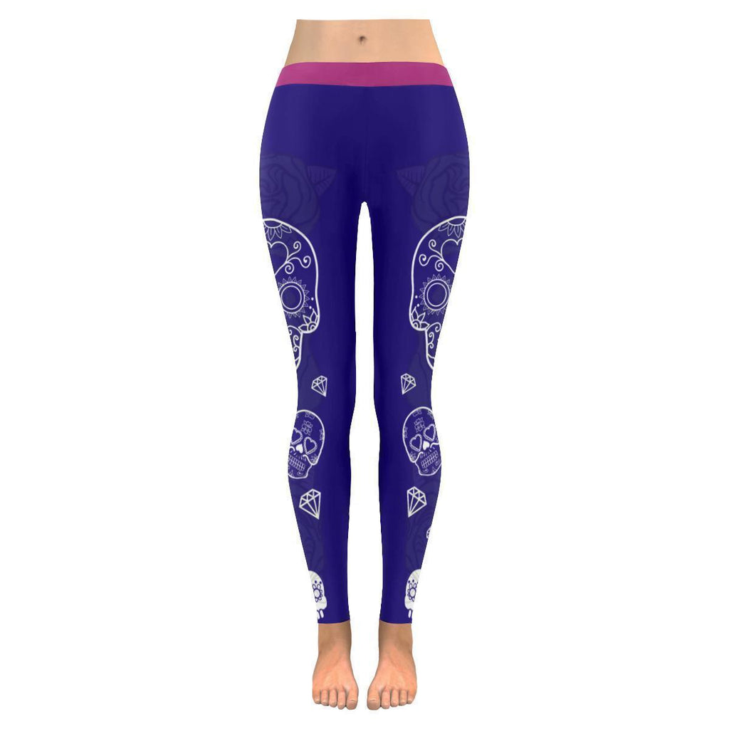 Royal Blue Sugar Skull Diamonds Soft UPF40+ Non See Through Womens Leggings-NeatFind.net