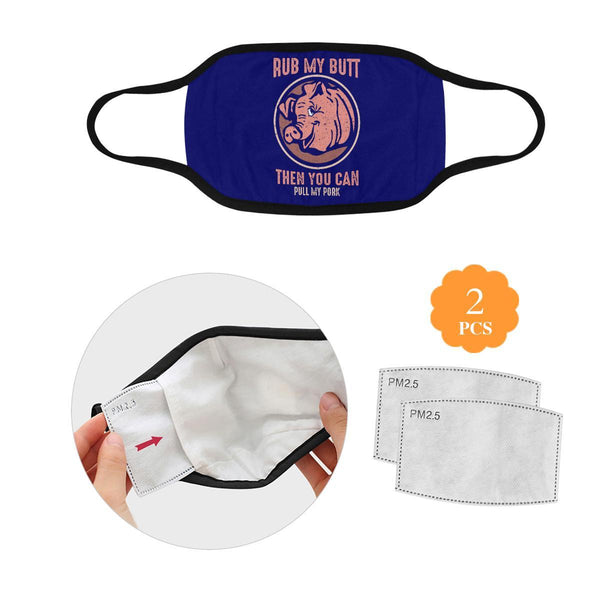 Rub My Butt Then You Can Pull My Pork BBQ Washable Reusable Cloth Face Mask-L-Navy-NeatFind.net