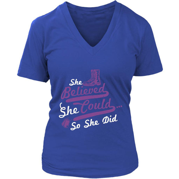 She Believed She Could So She Did Cool Funny Awesome Unique Patriotic USA Military Women V-Neck T-Shirt For Women-NeatFind.net