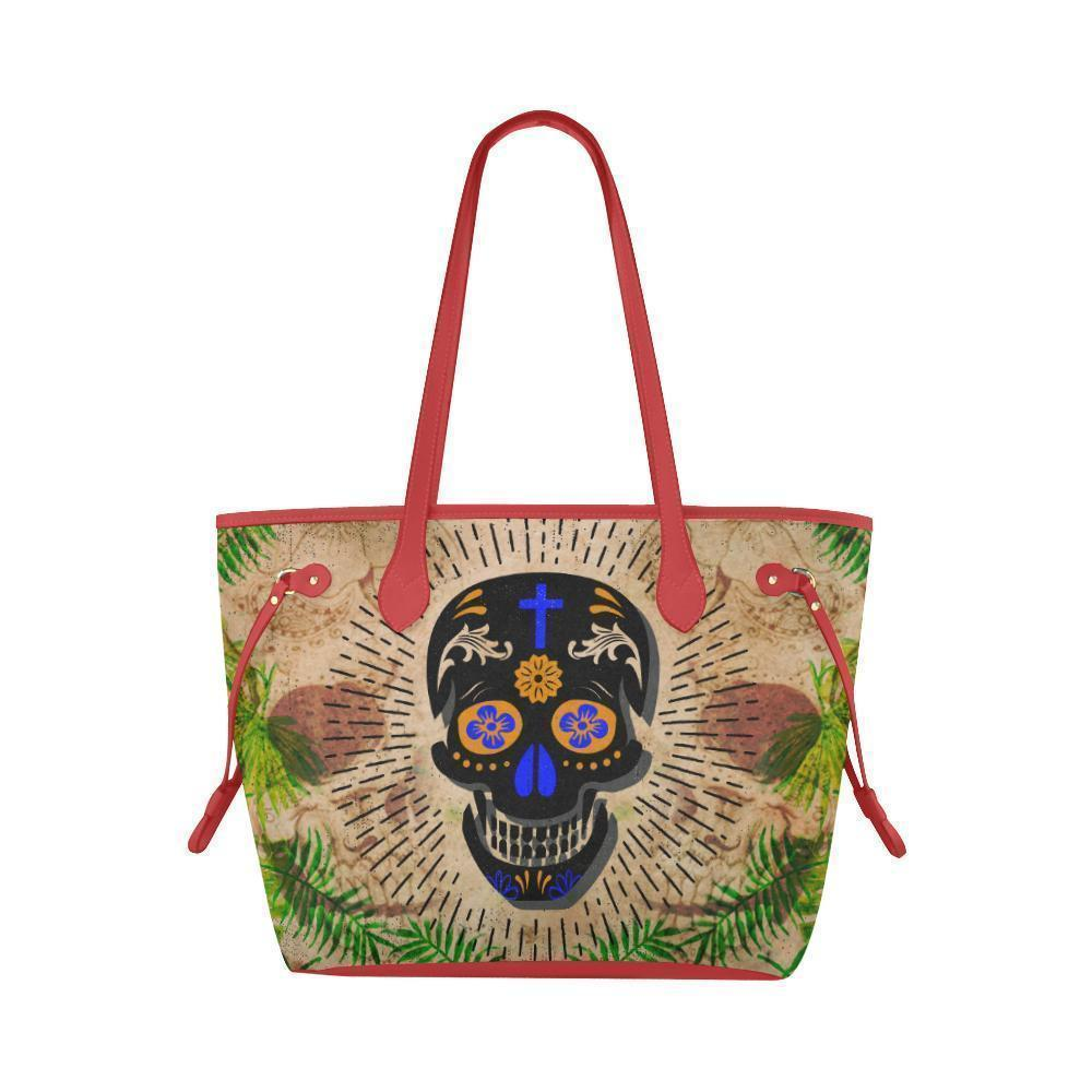 Sleek Water Resistant Canvas Tote bags Sugar Skull #13 (4 colors)-NeatFind.net