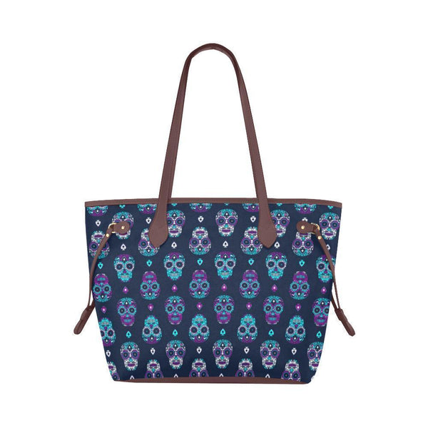 Sleek Water Resistant Canvas Tote bags Sugar Skull #16 (4 colors)-NeatFind.net
