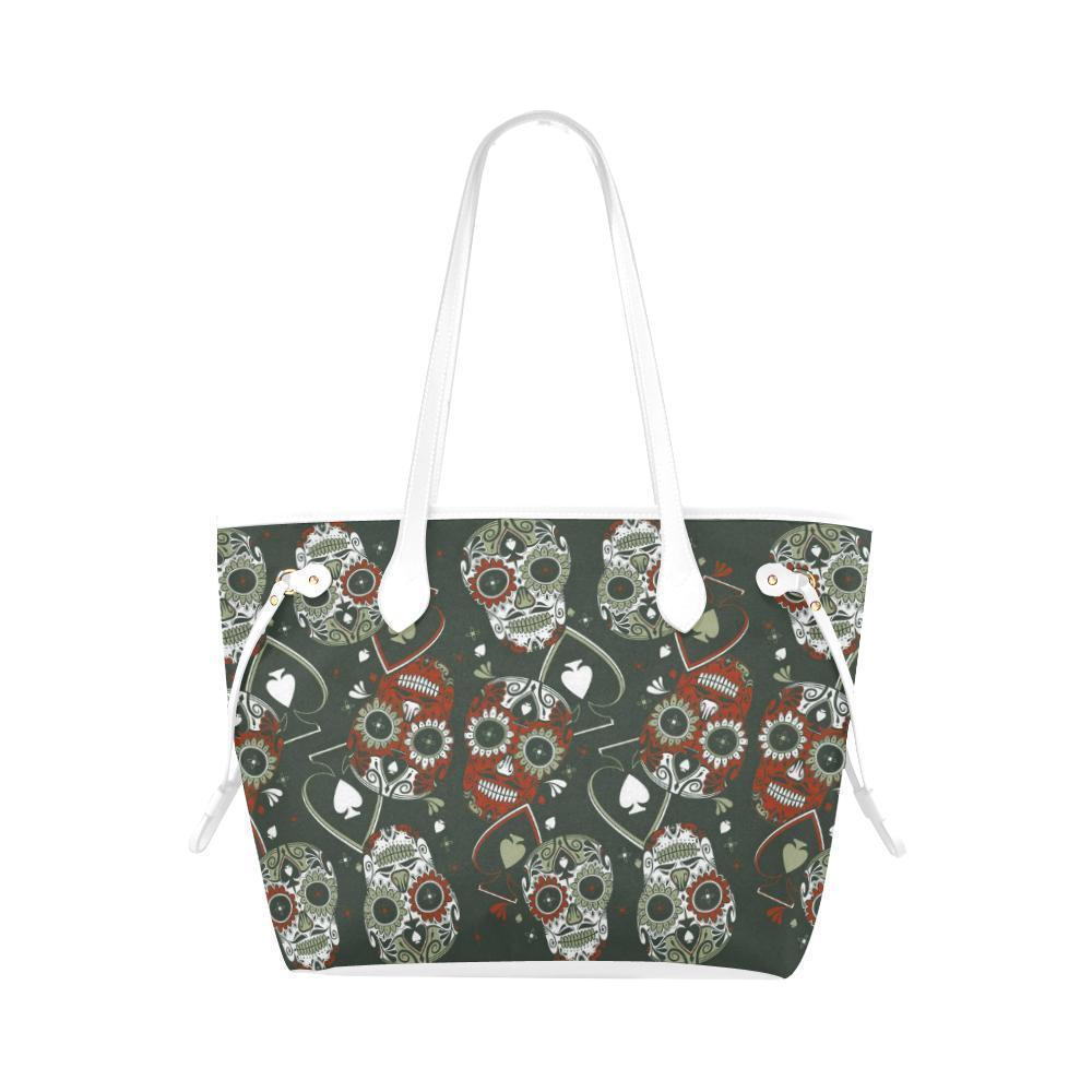 Sleek Water Resistant Canvas Tote bags Sugar Skull #19 (4 colors)-NeatFind.net