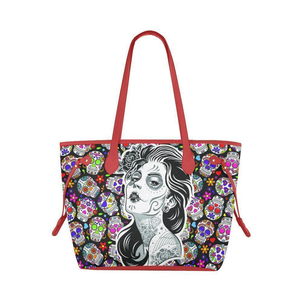 Sleek Water Resistant Canvas Tote bags Sugar Skull #5 (4 colors)-NeatFind.net